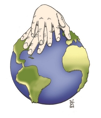 Graphic with two hands resting on globe.