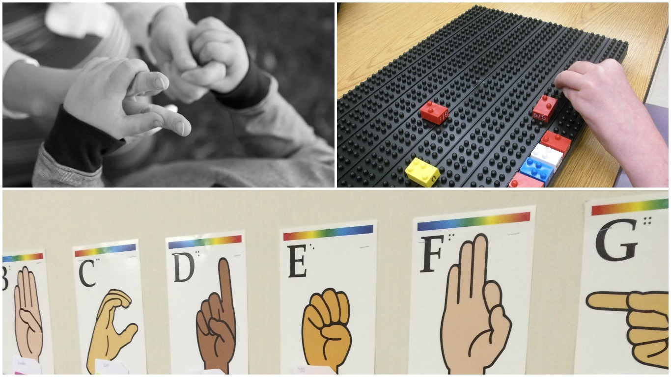 Three photo collage of hands, sign language alphabet, and legos.
