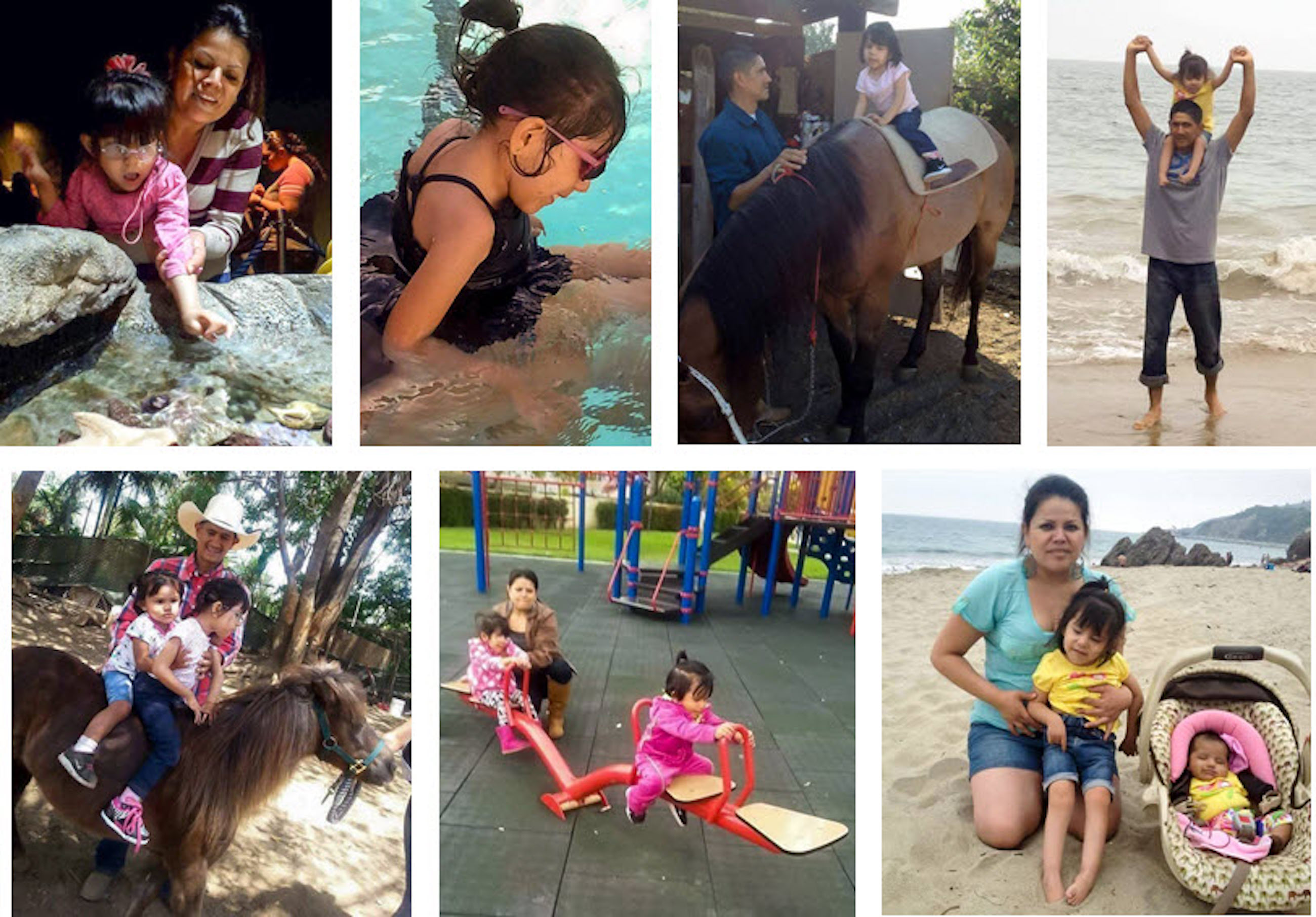 A collage of images of valerie doing outdoor activities with her family, including horseback riding, swimming, playing at the park.