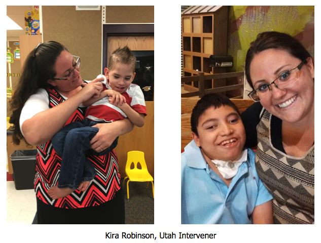 Two images of Kira Robinson with children that she works with.